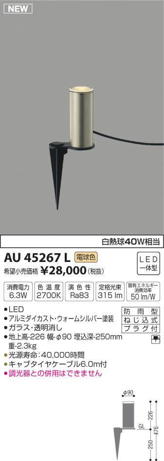 【LEDアウトドアライト】【電球色 on-offタイプ】AU45267L