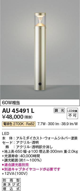【LEDアウトドアライト】【電球色調光タイプ(調光器別売)】AU45491L