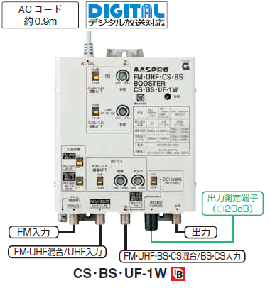 【共同受信用ブースター】【CS・BS・UF-1W】【BL型】【FM・UHF・BS・CSブースター】CS・BS・UF-1W
