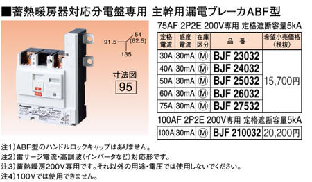 ※商品画像はイメージです【蓄熱暖房器対応専用】【主幹用漏電ブレーカABF型】BJF27532