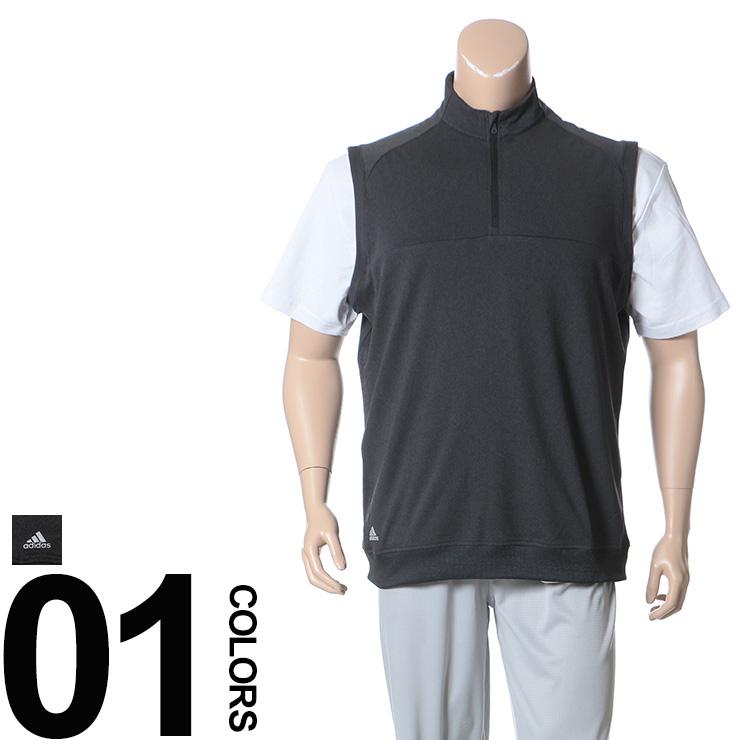 大きいサイズ メンズ adidas (アディダス) サイドリブ切り替え スタンドカラー 1/4ジップ ベスト BIG SIZE カジュアル トップス シンプル ゴルフ スポーツ