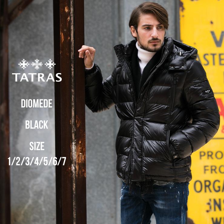 タトラス TATRAS ナイロン 袖ロゴワッペン フード付き フルジップ ダウンブルゾン DIOMEDE ディオメーデ ブランド メンズ アウター ダウンジャケット フェザー TRMTA19A4563