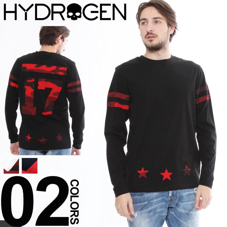 ハイドロゲン HYDROGEN Tシャツ 長袖 ロンT カモフラプリント バックプリント クルーネック ブランド メンズ HY220011