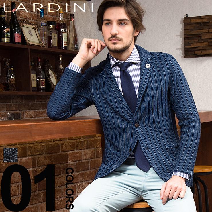 ラルディーニ LARDINI ジャケット ニット シングル 2B リネンコットン ストライプ 2ッ釦 ブランド メンズ LDJM2250003