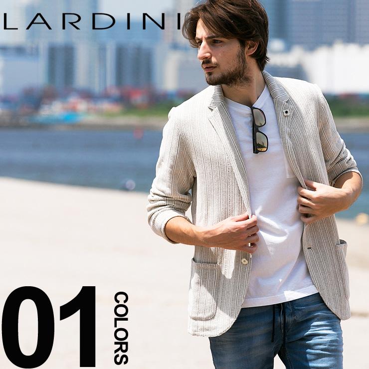ラルディーニ LARDINI ジャケット ニット ストライプ シングル 2ッ釦 2B ブランド メンズ テーラードジャケット コットン 麻 リネン LDJM2250003