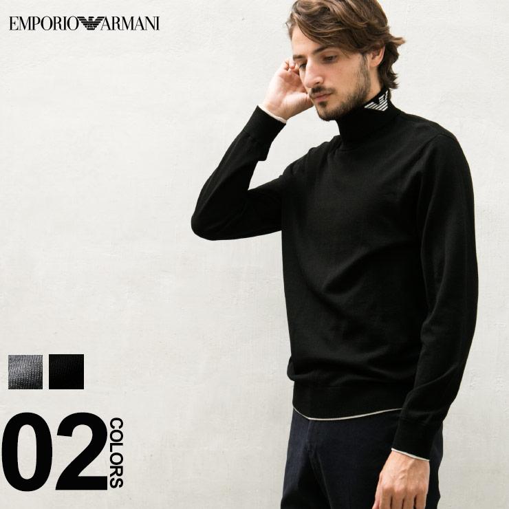 エンポリオ アルマーニ EMPORIO ARMANI ニット タートルネック セーター ハイゲージ ウール100% 衿ロゴ メンズ ブランド トップス ハイネック EA6Z1MY21MTPZ