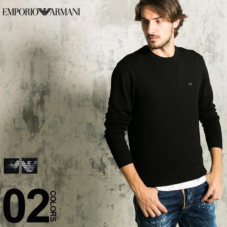 エンポリオ アルマーニ EMPORIO ARMANI ニット セーター ロゴ クルーネック 長袖 ハイゲージ ニットソー メンズ ブランド EA8N1MA11MPQZ