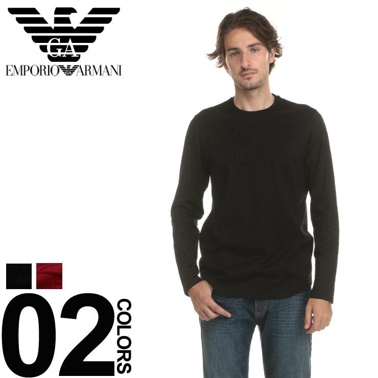 エンポリオ アルマーニ EMPORIO ARMANI ニットソー コットンニット ロゴ クルーネック 長袖 ブランド メンズ トップス カットソー EA6Z1TN91JTXZ
