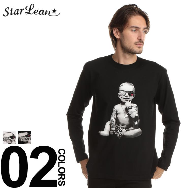 スターリアン StarLean ロンT スワロフスキー ベイビープリント 長袖 Tシャツ ブランド メンズ トップス シャツ クルーネック SESLBT001