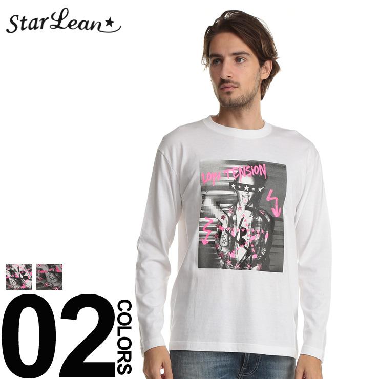 スターリアン StarLean ロンT スワロフスキー フォトプリント 長袖 Tシャツ ブランド メンズ トップス クルーネック SESLBT003