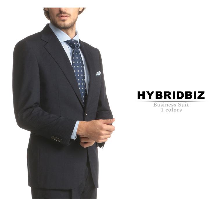 HYBRIDBIZ (ハイブリッドビズ) HYBRIDBIZ MOVE 2WAYストレッチ シングル 2ツ釦 2パンツ スーツメンズ 紳士 男性 ビジネス シングルスーツ サイドベンツ パンツウォッシャブル 伸縮 4AR2013AB