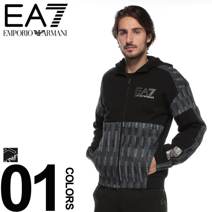 エンポリオ アルマーニ トラックジャケット EMPORIO ARMANI EA7 切り替え フルジップ パーカー ブランド メンズ トップス フード プリント EA6ZPM72PJP4Z