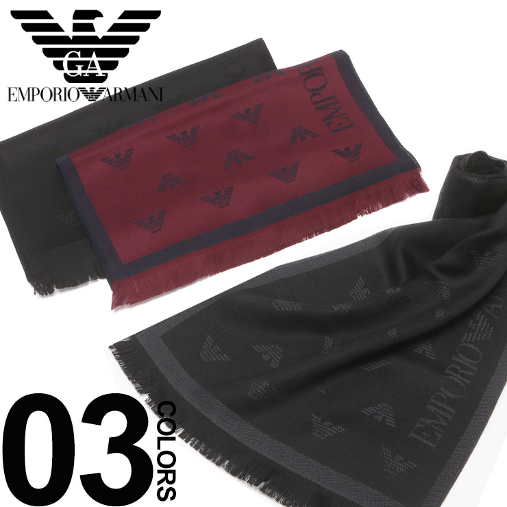 エンポリオ アルマーニ マフラー EMPORIO ARMANI ウール100% イーグルロゴ ブランド メンズ EA6250098P306