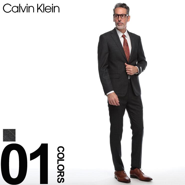 カルバン クライン Calvin Klein スーツ ウール シングル 2ツ釦 2B ブランド メンズ ビジネス ストライプ ノータック スリムフィット CK5FY1058 【newyear_d19】