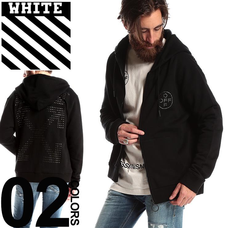OFF-WHITE オフホワイト パーカー スウェット フルジップ ラインストーン ロゴ OFF CROSS ブランド メンズ トップス フード スエット ストリート OWBE01R19003010