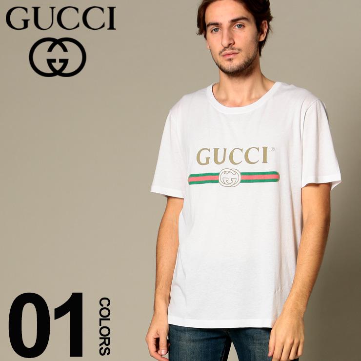 GUCCI グッチ Tシャツ 半袖 GGロゴ プリント ブランド メンズ トップス コットン クルーネック GC440103X3F05