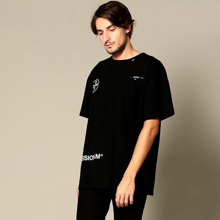 オフホワイト OFF-WHITE Tシャツ 半袖 バックプリント スプレー STENCIL OVER ブランド メンズ トップス クルーネック ロゴ OWAA38R19185015