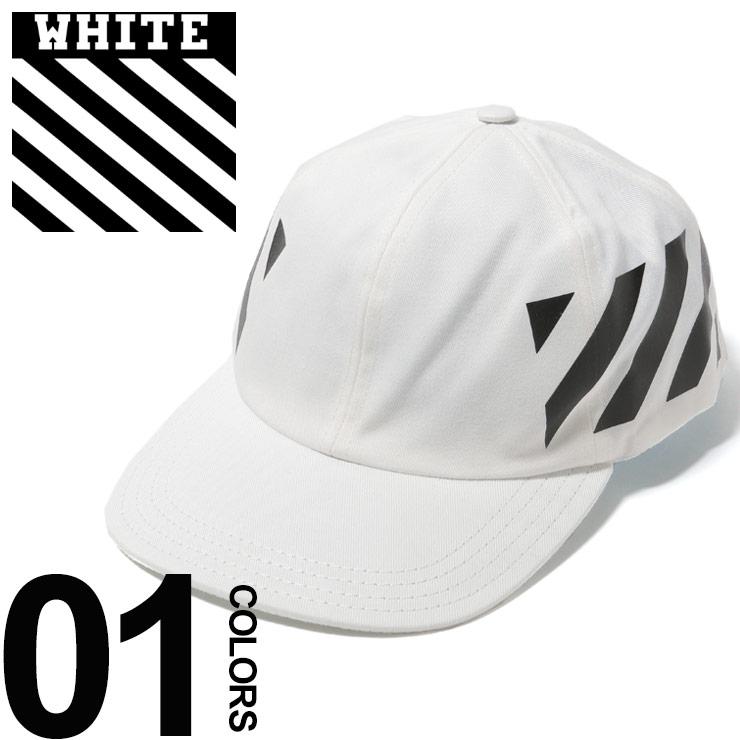 オフホワイト OFF-WHITE キャップ コットン プリント DIAGONALS ブランド メンズ 帽子 アジャスター OWLB08R19400032