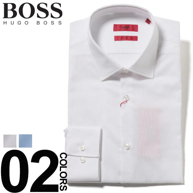 ヒューゴ ボス HUGO BOSS ワイシャツ コットン ジャガード 長袖 ドレスシャツ ブランド メンズ ビジネス シャツ スリムフィット HBKENNO10212587