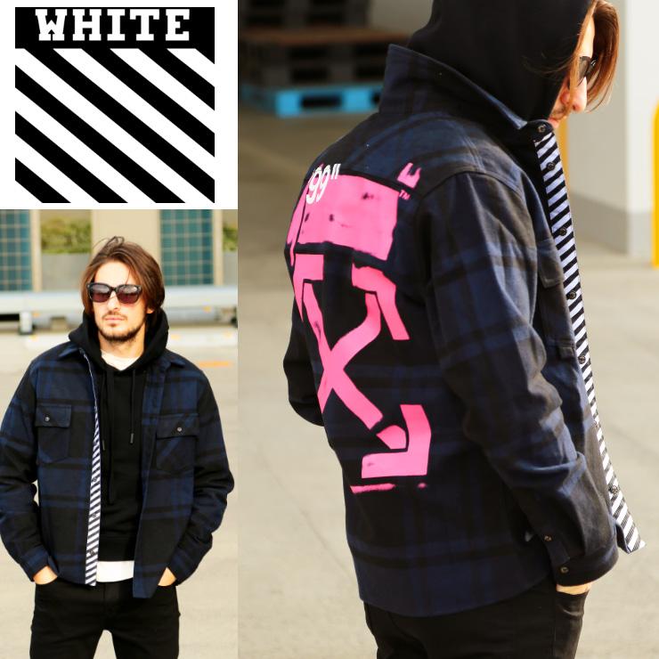 オフホワイト OFF-WHITE ネルシャツ バッファローチェック 長袖 バックプリント STENCIL FLANNEL ブランド メンズ トップス シャツ OWGA60R19C08015