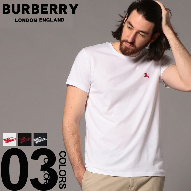 バーバリー BURBERRY Tシャツ 半袖 エクエストリアンナイト ロゴ ワンポイント クルーネック ブランド メンズ トップス BB80038S9