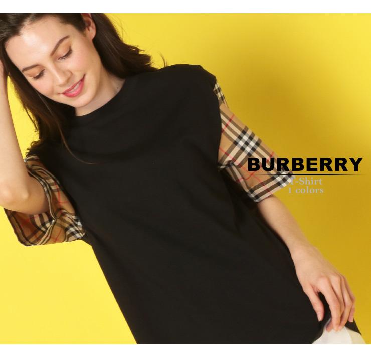 バーバリー BURBERRY レディース Tシャツ バーバリーチェック スリーブ切替 クルーネック 五分袖 ブランド トップス BBL8007716