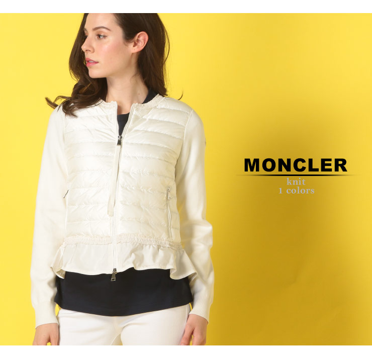 モンクレール MONCLER ニットダウン フルジップ フリル コットンニット ブランド レディース アウター ダウン ノーカラー ショート MCL9454200V9000