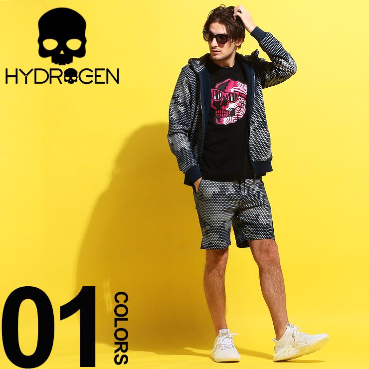 ハイドロゲン HYDROGEN セットアップ スウェット 総柄 プリント ドット カモフラージュ 迷彩 パーカー ショートパンツ ブランド メンズ 上下セット HY240606SETUP