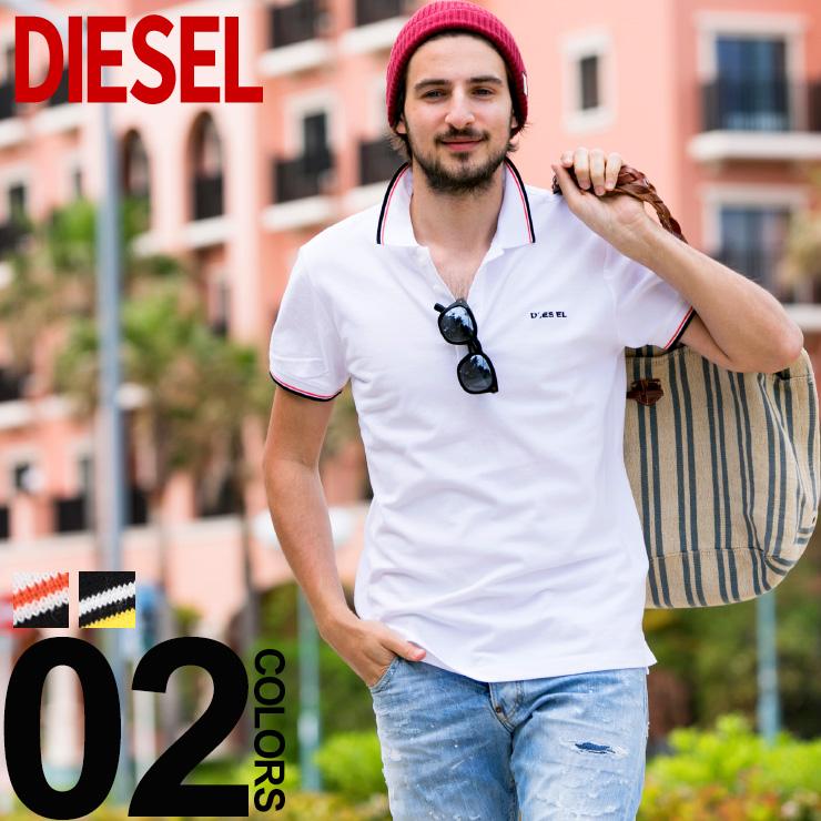 ディーゼル DIESEL ポロシャツ 半袖 鹿の子 ライン ブランド メンズ トップス ポロ コットン ロゴ DSSI29MXZA