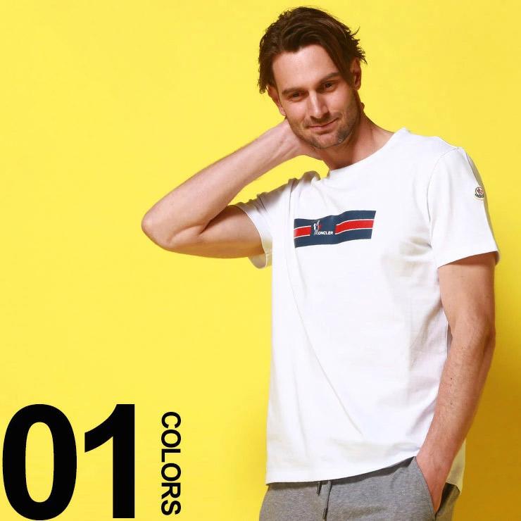 モンクレール MONCLER Tシャツ 半袖 プリント ロゴ クルーネック ワッペン ブランド メンズ トップス コットン MC80371508390T