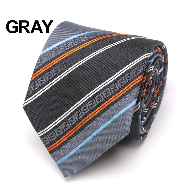 フェンディ FENDI ネクタイ シルク100% FFロゴ ストライプ GRAY ブランド メンズ ビジネス ギフト プレゼント タイ シルク 父の日 FDA76HF0QK5rdxoCeB