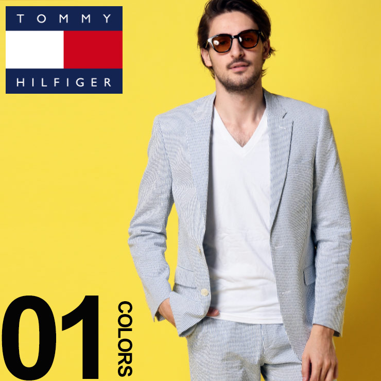トミーヒルフィガー ジャケット TOMMY HILFIGER ストレッチ シアサッカー ストライプ シングル 2ツ釦 ブランド メンズ テーラード TMTREVORASC0004