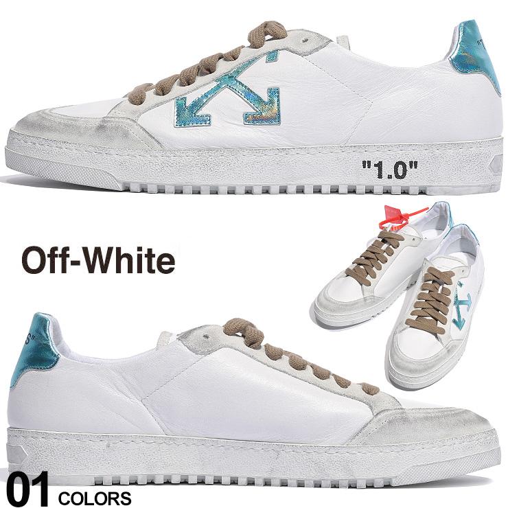オフホワイト OFF-WHITE スニーカー レザー メタリック ローカット 2.0 SNEAKER ブランド メンズ 靴 白スニーカー ユーズド加工 OWIA42E19D68048