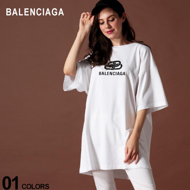 バレンシアガ レディース BALENCIAGA Tシャツ 半袖 ロゴ プリント クルーネック ビッグシルエット NEW BB LOGO ブランド トップス BCL583218TFV65 SALE_8_a