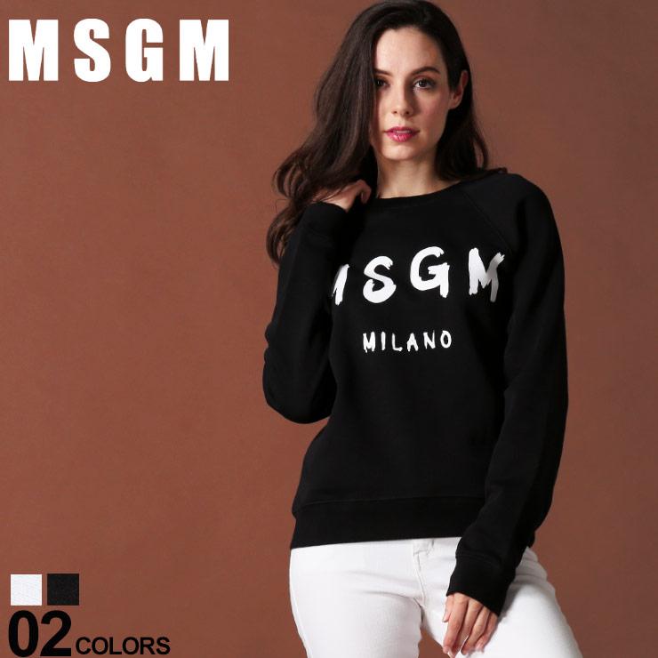 MSGM レディース エムエスジーエム スウェット トレーナー ロゴ プリント クルーネック ブランド トップス プルオーバー MSL2741MDM89