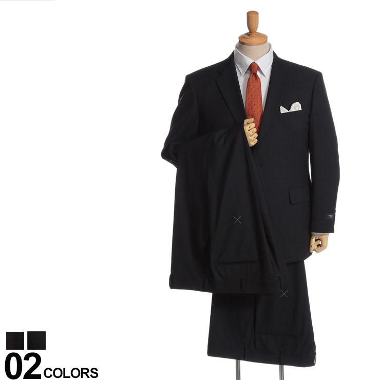 大きいサイズ メンズ HYBRIDBIZ (ハイブリッドビズ) 2WAYストレッチ シャドーチェック シングル 段返り3ツ釦 ノータック 2パンツ スーツ ビジネス シングルスーツ サイドベンツ 伸縮 機能性 パンツウォッシャブル 1123392KE2