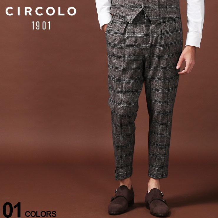 CIRCOLO 1901 チルコロ1901 メンズ チェック パンツ ジャージー コットン ワンプリーツ SALE_3_a ブランド ワンタック CICN2437 買収 ロングパンツ 絶品 ボトムス