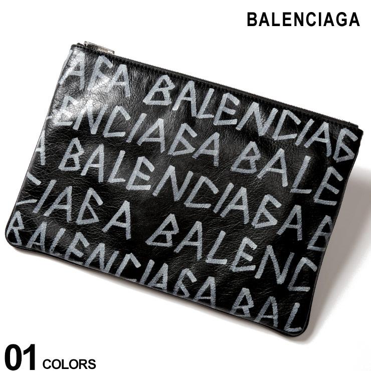 バレンシアガ BALENCIAGA レザー ロゴプリント クラッチバッグ CARRY CLIP M ブランド メンズ 鞄 バッグ 革小物 BC5355320EE12