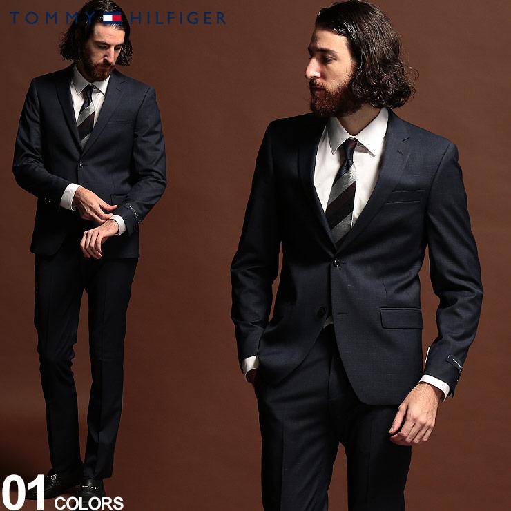 トミーヒルフィガー メンズ スーツ TOMMY HILFIGER ストレッチ マイクロピンチェック シングル 2ツ釦 2B ブランド ノータック TMLWNN2ASB0116