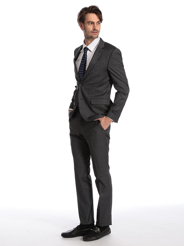 トミーヒルフィガー メンズ スーツ TOMMY HILFIGER ストレッチ ウール ストライプ シングル 2ツ釦 2B GRAY ブランド ビジネス ノータック TMLOWENASB0126