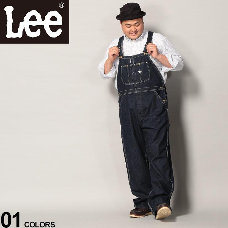 大きいサイズ メンズ Lee (リー) デニム ワンウォッシュ ロング オーバーオール オーバーオール サロペット ロングパンツ ズボン デニム 無地 つなぎ 作業着 LM72549002L5L