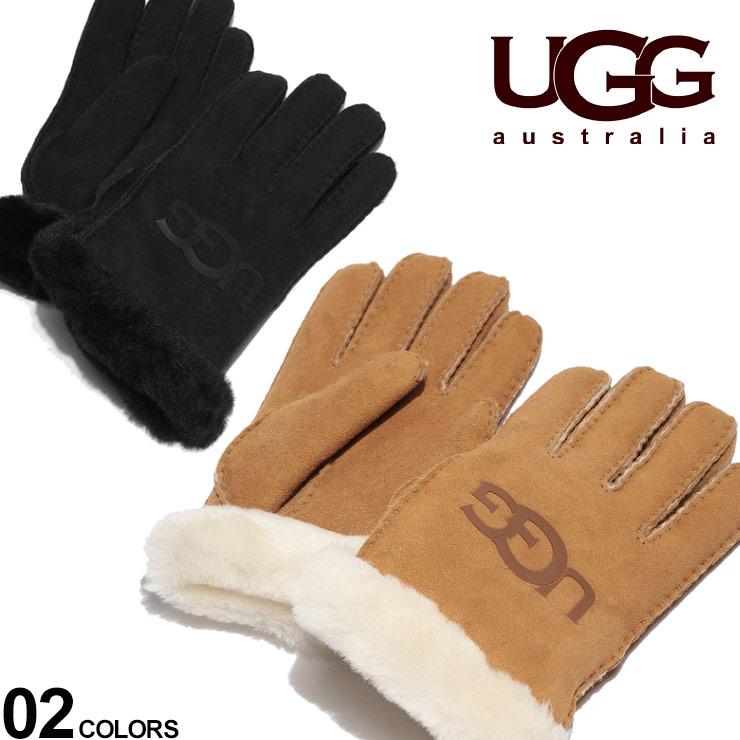 アグ レディース 手袋 UGG Australia グローブ シープスキン ロゴ SHEEPSKIN LOGO ブランド レザー 革手袋 ふわふわ UGGL18691 SALE_6_f