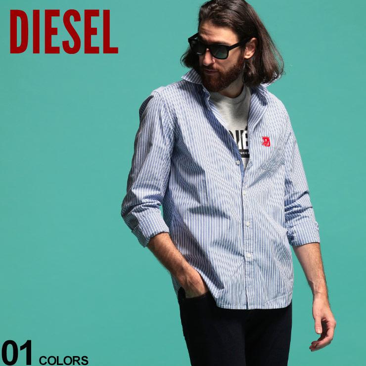 DIESEL ディーゼル メンズ シャツ 長袖 ストライプ ロゴ 並行輸入品 刺繍 青 2020 SALE_1_c レギュラーカラー ブランド コットン 白 DSSZXWEAXJ トップス