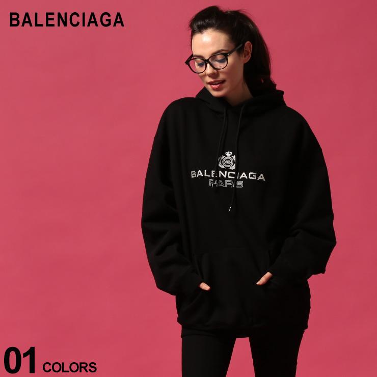 バレンシアガ レディース パーカー BALENCIAGA スウェット ロゴ プリント 裏起毛 フード プルオーバー ブランド トップス プルパーカー ビッグシルエット BCL578135TGV70 SALE_8_a