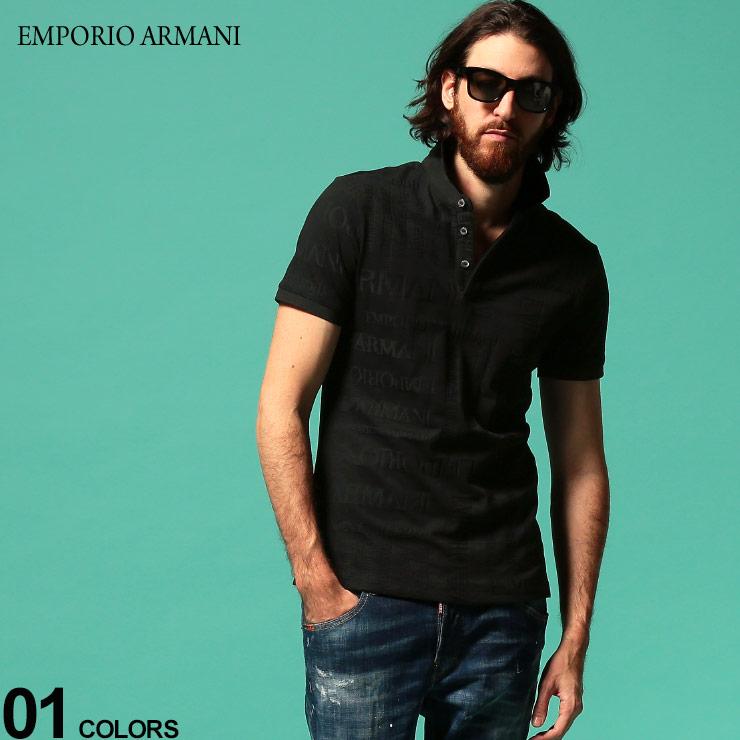 ロゴ EMPORIO ブランド ARMANI トップス EA3H1F621JEPZ エンポリオ 半袖 ニットポロ アルマーニ ニット 総柄 メンズ ポロシャツ