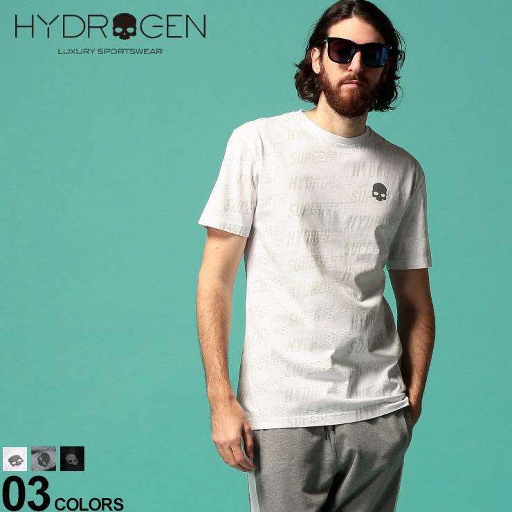 HYDROGEN ハイドロゲン メンズ Tシャツ 半袖 総柄 ロゴ クルーネック プリント ドクロ セール特価 迅速な対応で商品をお届け致します プリントT ブランド トップス HY265606