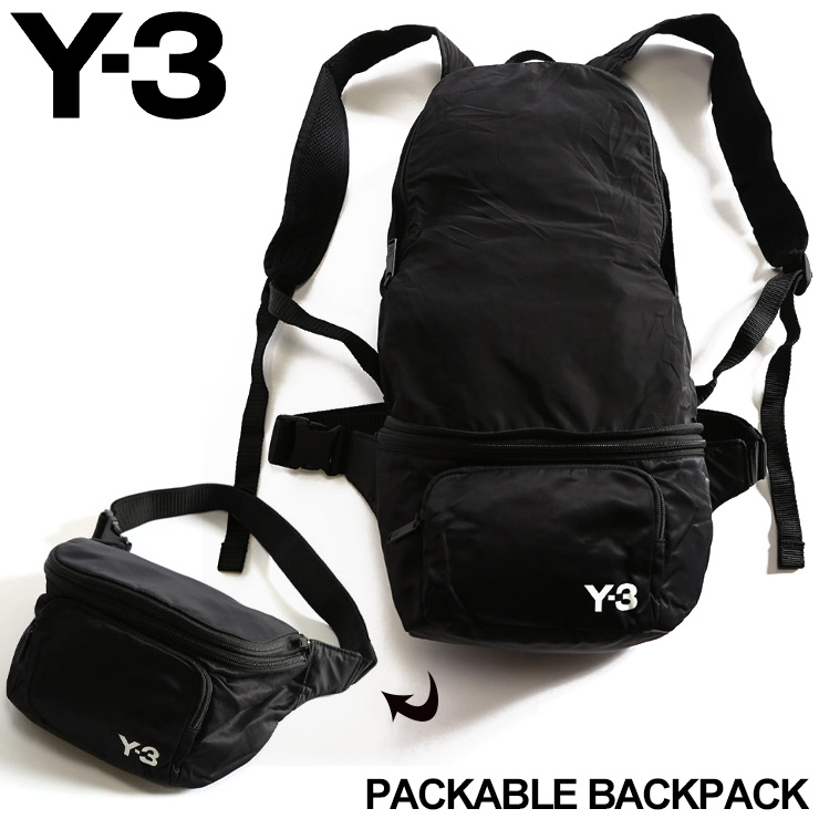 Y-3 メンズ バッグ ワイスリー バックパック ボディバッグ 2WAY ナイロン ロゴ PACKABLE BACKPACK ポケッタブル ブランド 鞄 リュック Y3FQ6993