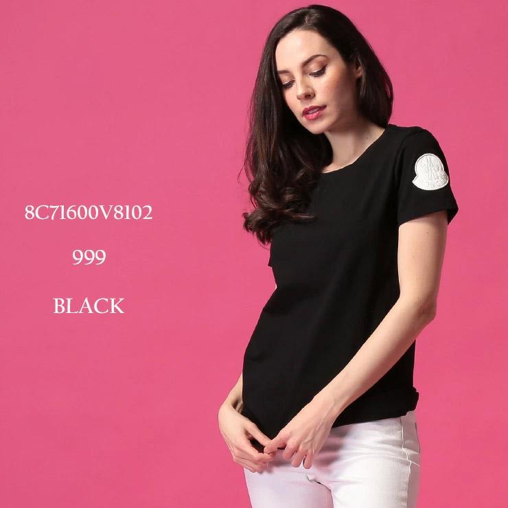 モンクレール レディース Tシャツ 半袖 MONCLER ロゴ ワッペン コットン クルーネック 黒 ブランド トップス カットソー MCL8C71600V8102
