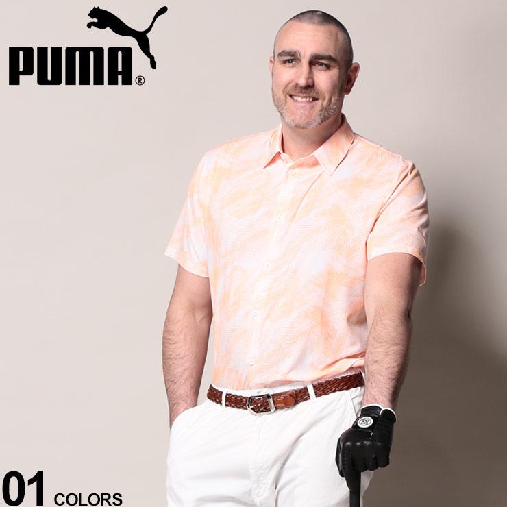大きいサイズ メンズ PUMA (プーマ) ドライ ボタニカル柄 半袖 ゴルフ シャツ シャツ 半袖 柄シャツ ゴルフ 春 夏 ドライ スポーツ カジュアルシャツ 596378