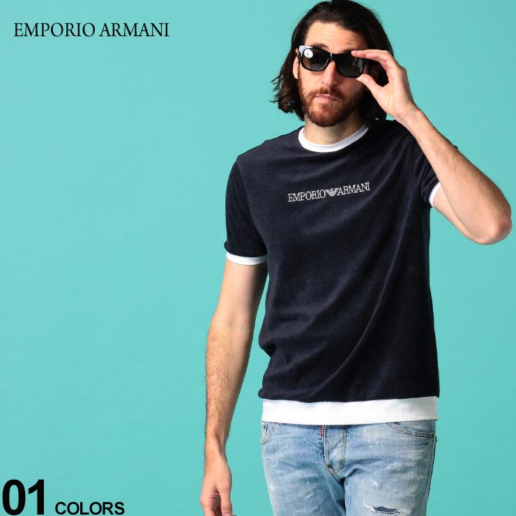 価格交渉OK送料無料 EMPORIO 人気 おすすめ ARMANI エンポリオ アルマーニ メンズ Tシャツ 半袖 パイル ロゴ ブランド 刺繍 EA3H1T941JEUZ パイル地 クルーネック トップス リンガーネック SALE_1_a